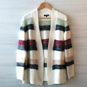Verve Ami Fuzzy Striped Relaxed Cardigan Sweater